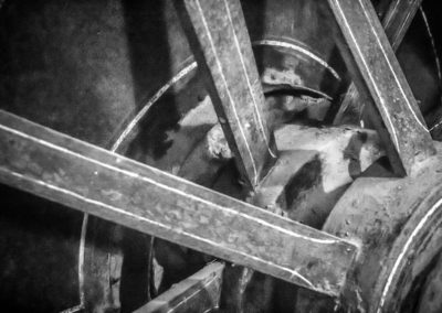 Spokes from steam engine